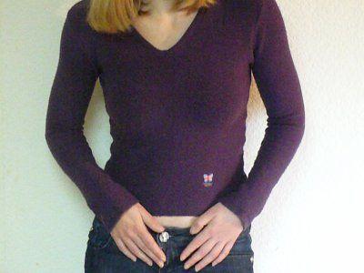 pull femme col en v violet new london t2 petites. Black Bedroom Furniture Sets. Home Design Ideas